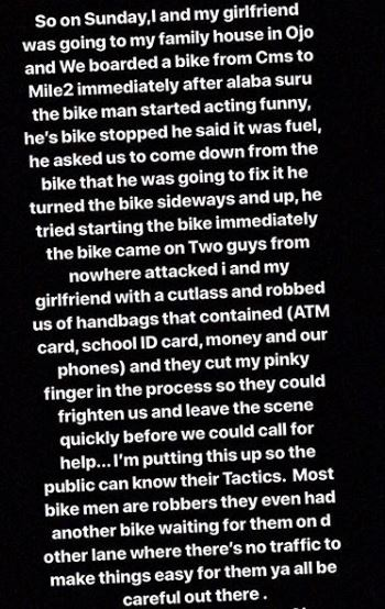 Lady Shares Ordeal With Robbers In Lagos, Warns Nigerians Against Bike Riders