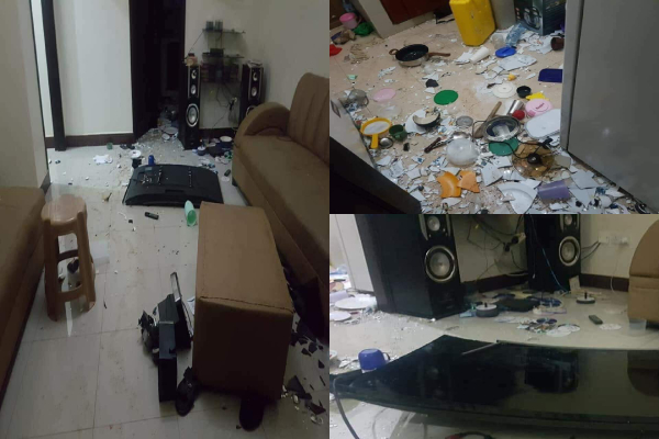 A young lady destroyed her boyfriend's properties in his apartment after she discovered some nude photos of another lady on his phone.