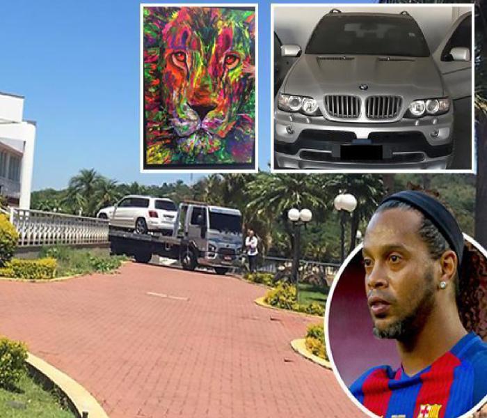 Police Raid Ronaldinho's House, Seize His Luxury Cars And Artwork. Photos