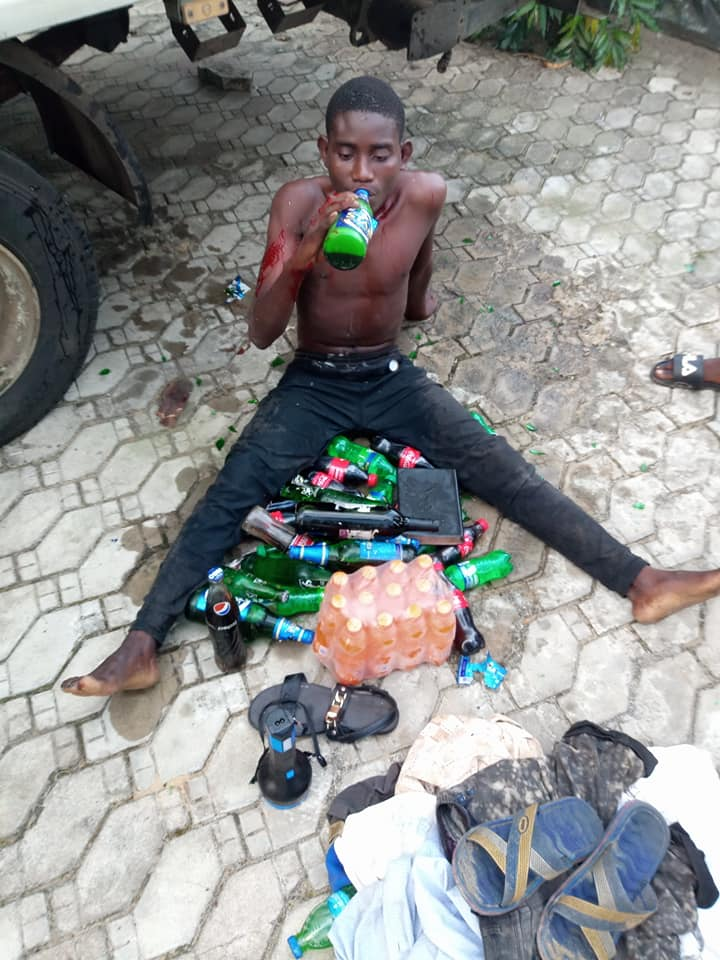 Suspect Caught and given the stolen beers to cool off after receiving the beaten of his life