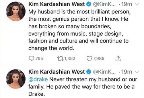 """Never threaten my husband or our family""- Kim Kardashian Warns Drake"