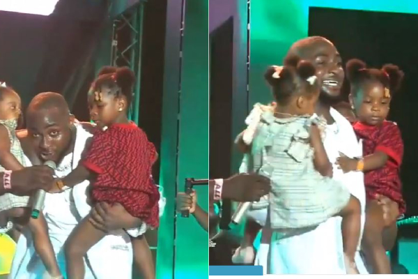 davido Live in concert with daughters