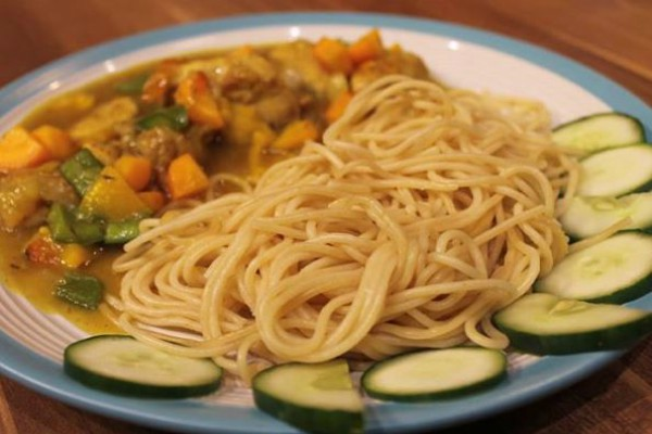 Spaghetti and Yaji Infused Chicken Curry