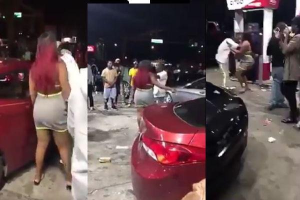 Lady Assaults Her Man For Talking To Another Lady (video)