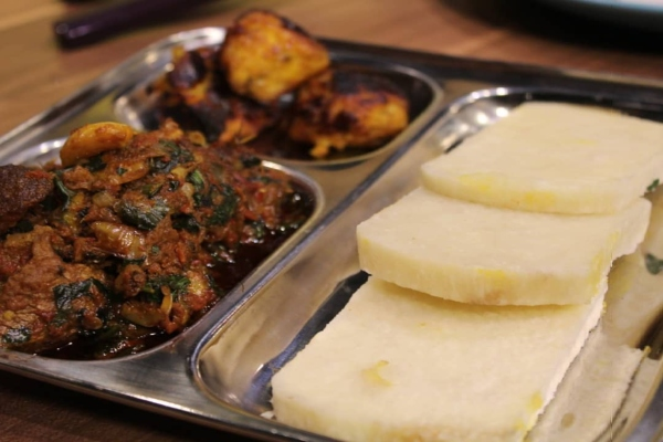 Make Your Yam Special, Add Mashed Plantain Balls And Vegetable Sauce