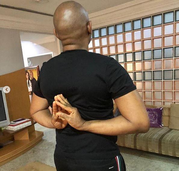 Tony Elumelu, 55, shows off his flexibility during Yoga session (Photos)