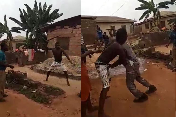 Man Fights PHCN Official With Machete Over Light Disconnection In Lagos (Video)