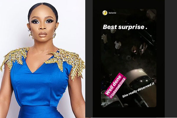 Toke Makinwa rounds off her 35th birthday celebration by surprising her P.A with a car