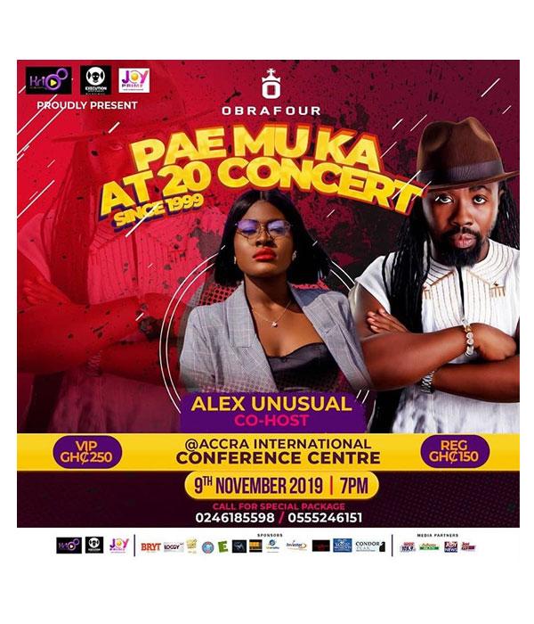 Alex meets Yvonne Nelson as she co-hosts the PAE MU KA at 20 concert in Ghana