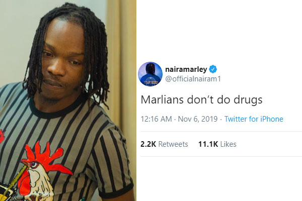 Naira Marley to fans-Marlians don't do drugs