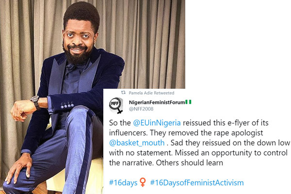 Basket has allegedly been dropped as an influencer over a joke he made about Nigerian women getting raped.
