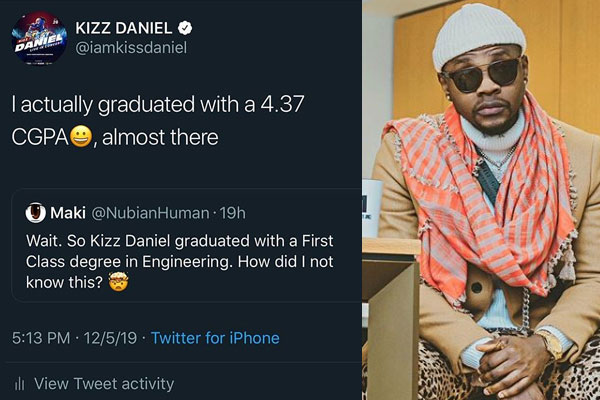 Did you know? Kiss Daniel graduated with a first class