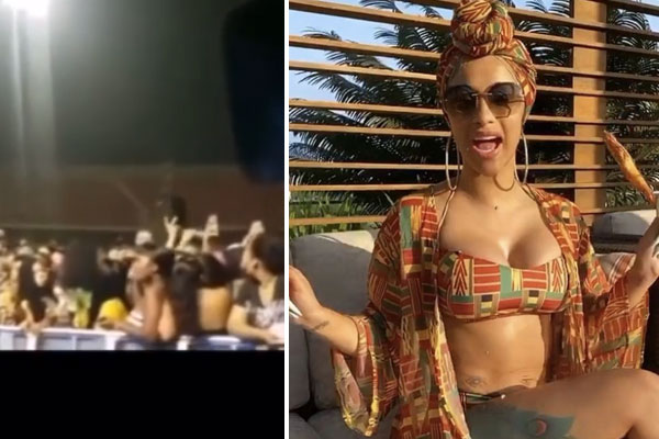 Ghanaian Audience through items on stage ahead of Cardi B's performance
