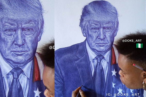 Young Nigerian Artist catches Donald Trump's attention on Twitter but gets a rather unexpected kind of reply