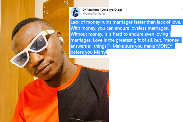 Pamilerin-Lack of money ruins marriages faster than lack of love