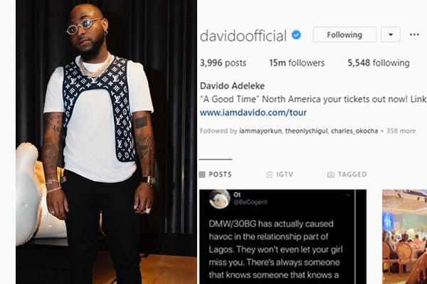 Davido tops the list of nigerian celebrities on Instagram as he hits 15million Instagram followers