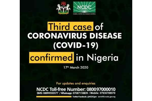 3rd case of Coronavirus confirmed in Nigeria