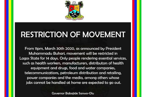 List of those not affected by the restriction of movement