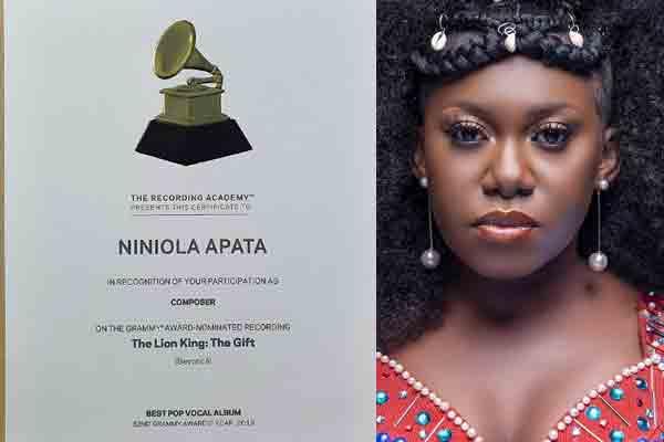 Niniola receives Grammy award certificate