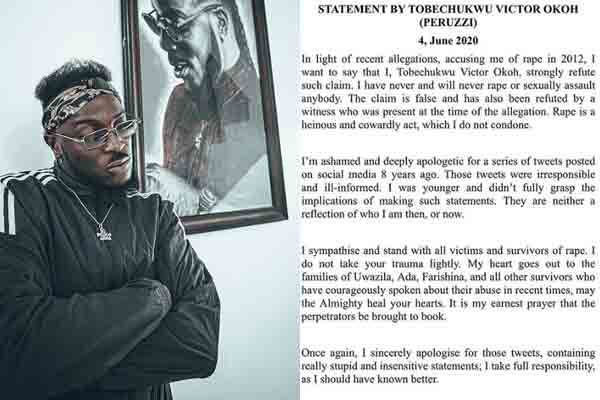 Peruzzi tenders apology over rape allegation