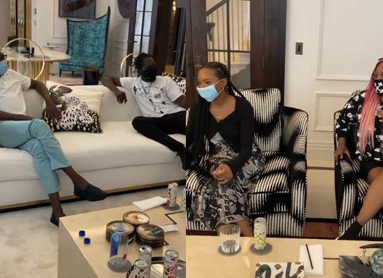 Billionaire businessman, Femi Otedola hos, Mr Eazi, Temi and Dj Cuppy in his London home