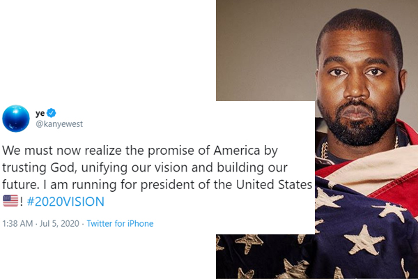 American rapper, Kanye West will be running for president of the United States